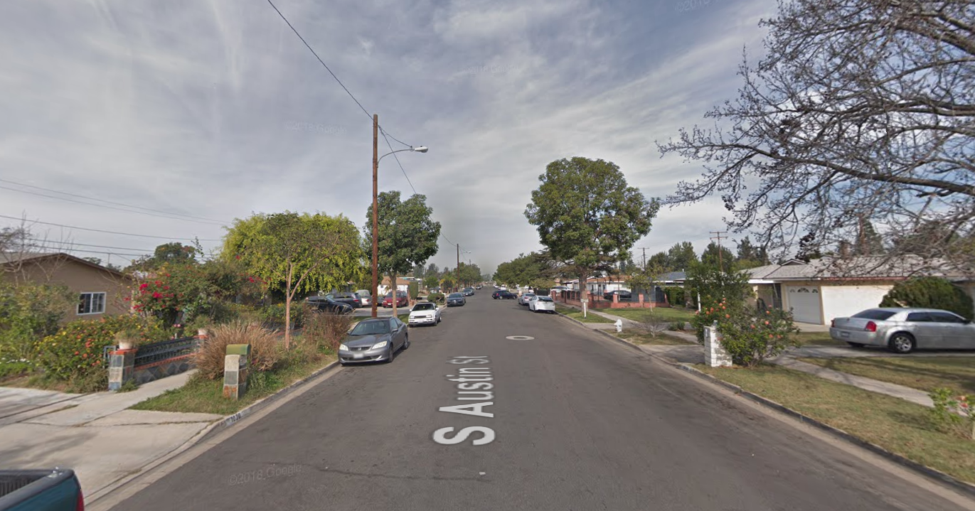 The 1000 block of South Austin Street in Santa Ana is seen in a Google Maps Street View image on June 9, 2019.