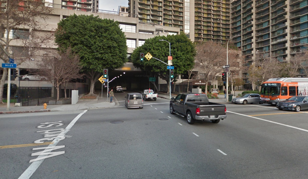 The intersection of Hill Street and 3rd Street in downtown L.A. is seen in this image from Google Maps.