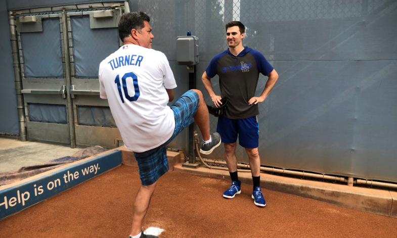 Dodgers player Ross Stripling gives KTLA's Frank Buckley some pitching advice ahead Frank's ceremonial first pitch on June 18, 2019. (Credit: KTLA)