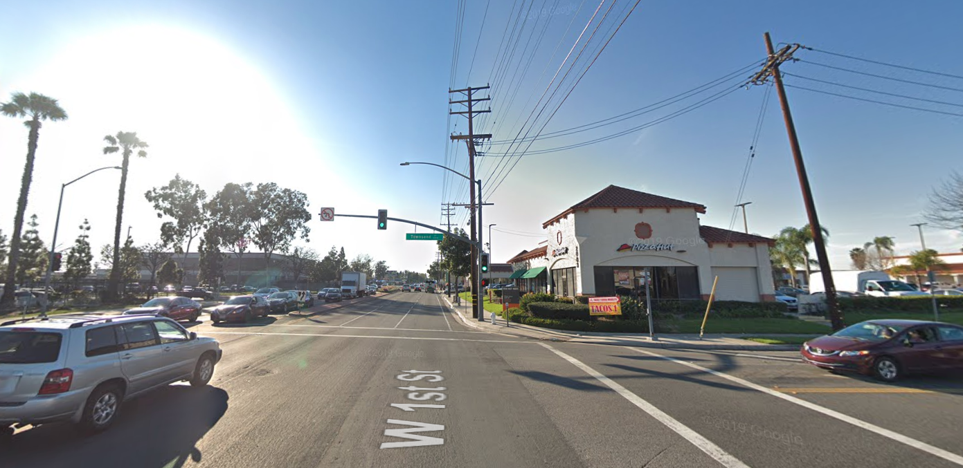 The intersection of 1st and Townsend streets in Santa Ana is seen in a Google Maps Street View image on June 29, 2019.