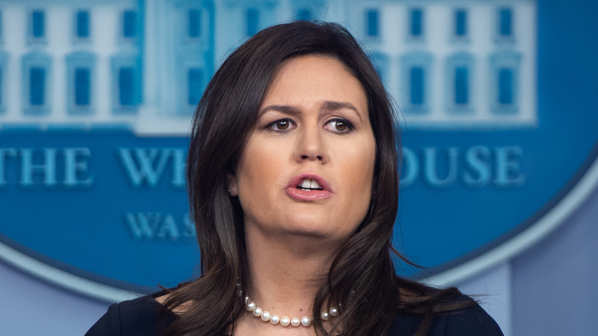 White House Press Secretary Sarah Huckabee Sanders speaks during a press briefing at the White House in Washington, D.C., March 11, 2019. (Credit: SAUL LOEB / AFP) (Photo credit should read SAUL LOEB/AFP/Getty Images)