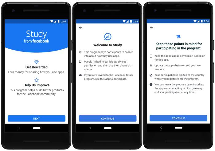 The interface for Facebook's new app Study, which pays users who let their phone be tracked, is seen in images released by the company.