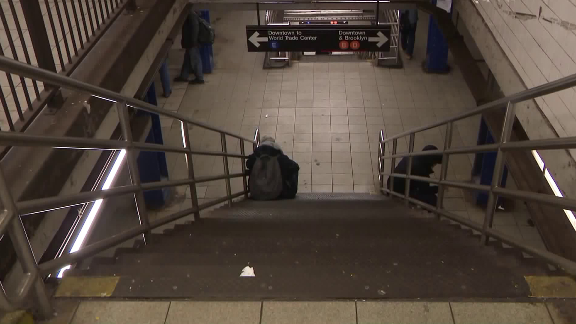 A woman died after falling down stairs in the New York City subway on Jan. 28, 2019. (Credit: WPIX)