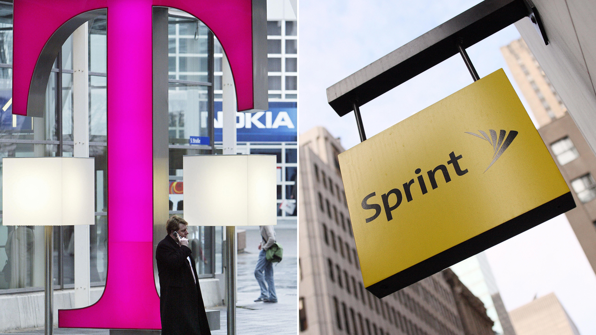 The T-Mobile and Sprint logos appear in file photos. (Credit: Getty Images)