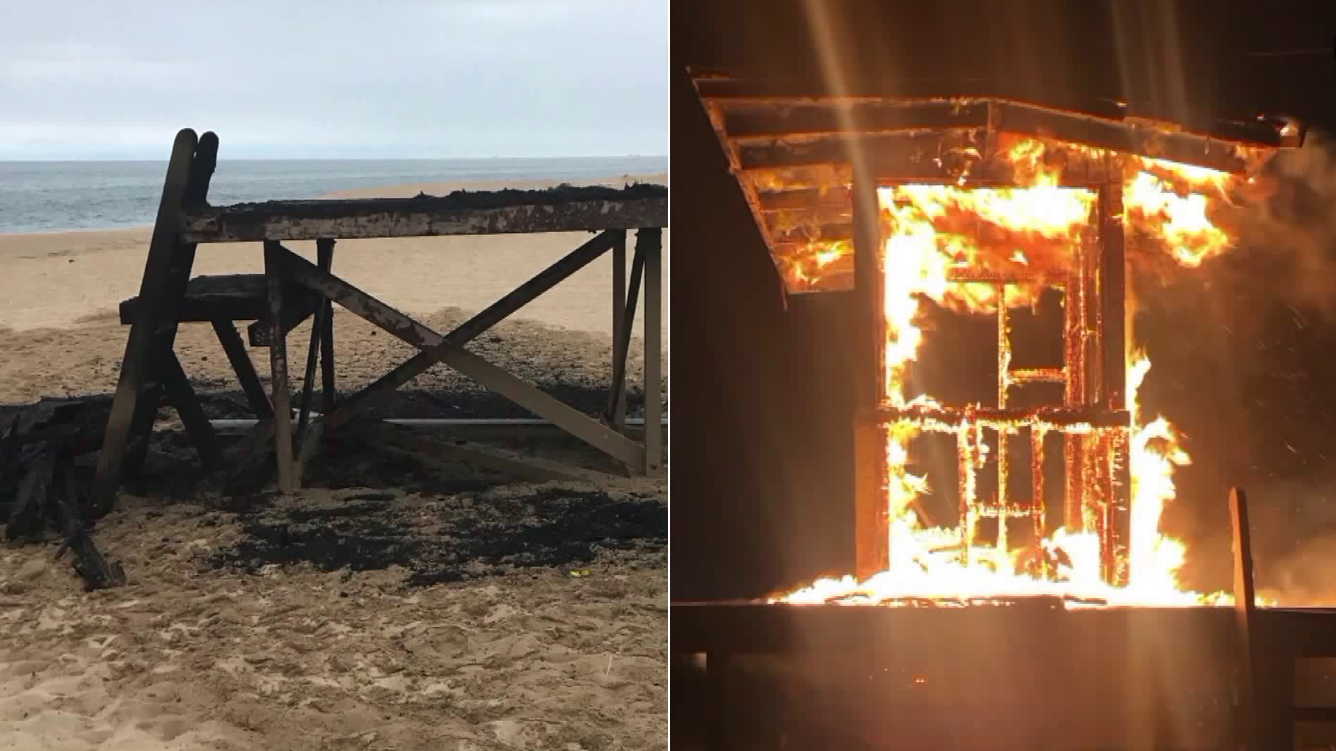 A lifeguard tower in Newport Beach is seen before and after it burned in a suspected arson incident on June 20, 2019, in photos released by the Newport Beach Fire Department.