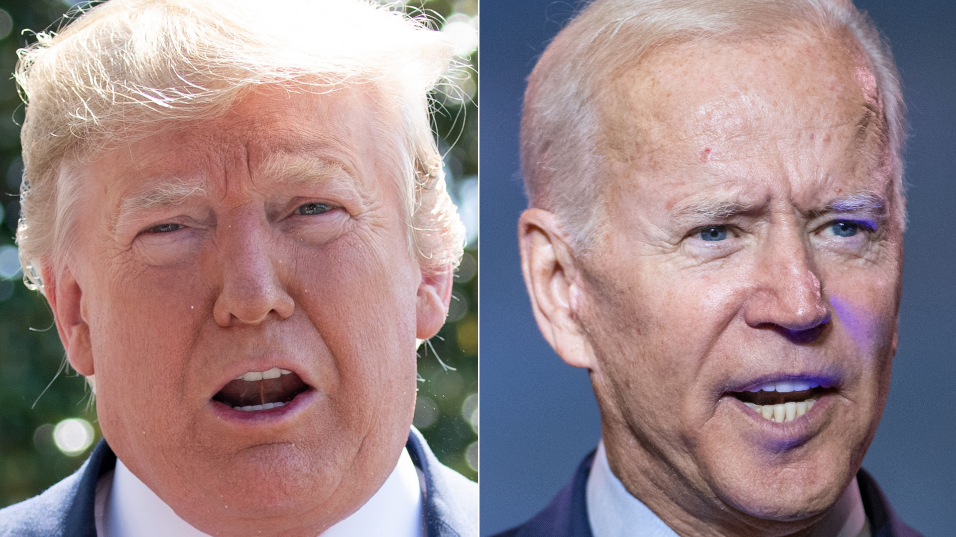 Donald Trump, left, speaks to the media prior to departing on Marine One from the South Lawn of the White House in Washington, D.C. on June 22, 2019. Joe Biden, right, speaks to the crowd during the 2019 South Carolina Democratic Party State Convention on June 22, 2019. (Credit: SAUL LOEB/AFP/Getty Images; Sean Rayford/Getty Images)