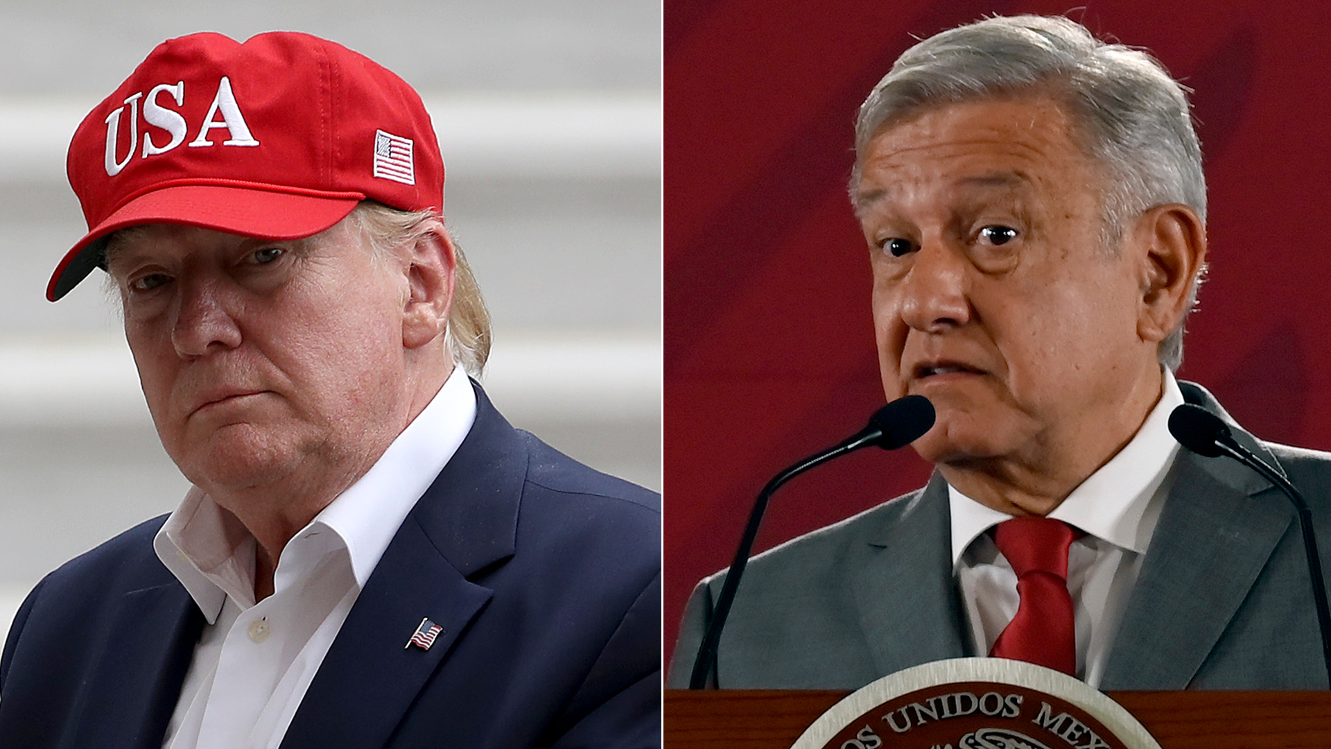U.S. President Donald Trump, left, appears at the White House on June 7, 2019. Mexican President Andres Manuel Lopez Obrador speaks at the National Palace in Mexico City, on May 31, 2019. (Credit: Win McNamee/ALFREDO ESTRELLA/AFP/Getty Images)