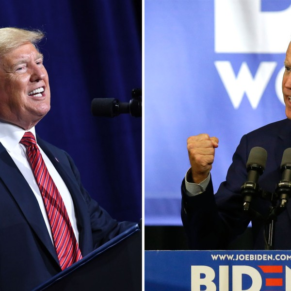 Donald Trump speaks during the Republican Party of Iowa Annual Dinner in West Des Moines, Iowa. Joe Biden speaks during a campaign event on June 11, 2019, in Davenport, Iowa. (Mandel Ngan/AFP/Getty Images; Joshua Lott/Getty Images)