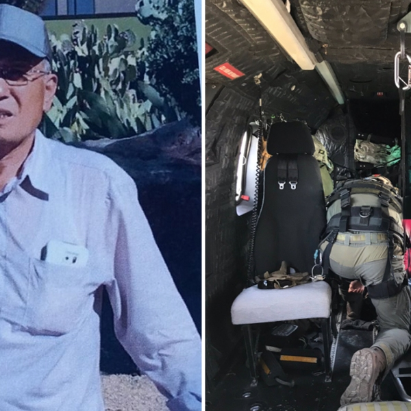Eugene Jo is shown on a flier tweeted by Montrose Search and Rescue on June 24, 2019. On the right, paramedics re seen treating Jo on a helicopter on June 29, 2019. (Credit: LASD SEB/ Twitter)