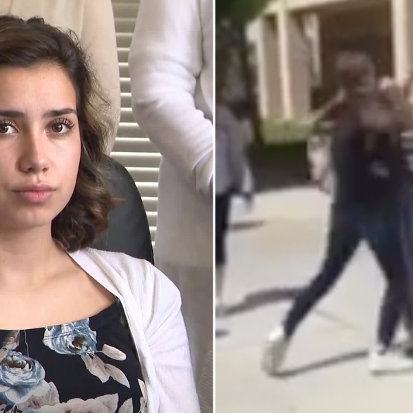 Savanna Blakkan, 15, on the left, is seen during a June 25, 2019, news conference addressing a video, seen on the right, allegedly showing another student beating Blakkan at a Yucaipa school. (Credit: KTLA)