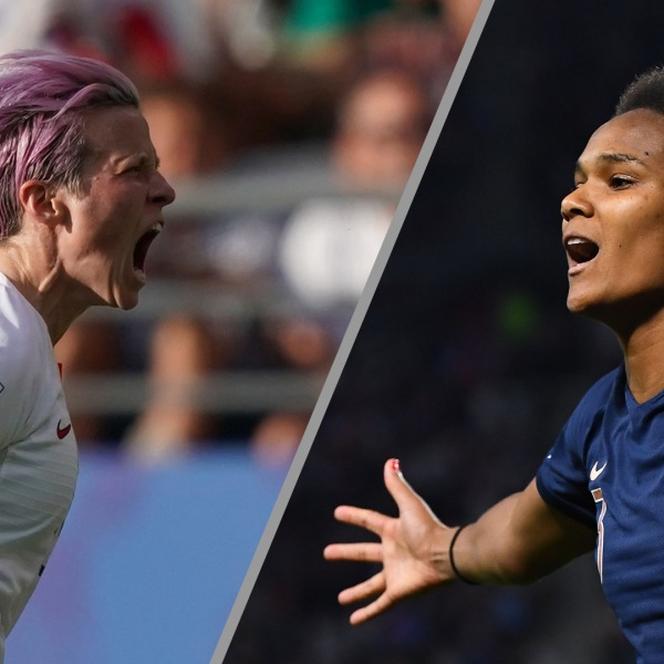 Left: Team USA's Megan Rapinoe celebrates after scoring a goal during the France 2019 Women's World Cup round of sixteen football match between Spain and USA, on June 24, 2019. Right: France's defender Wendie Renard celebrates after scoring a penalty kick during the France 2019 Women's World Cup Group A football match between Nigeria and France, on June 17, 2019. (Credit: FRANCK FIFE/AFP/Getty Images)