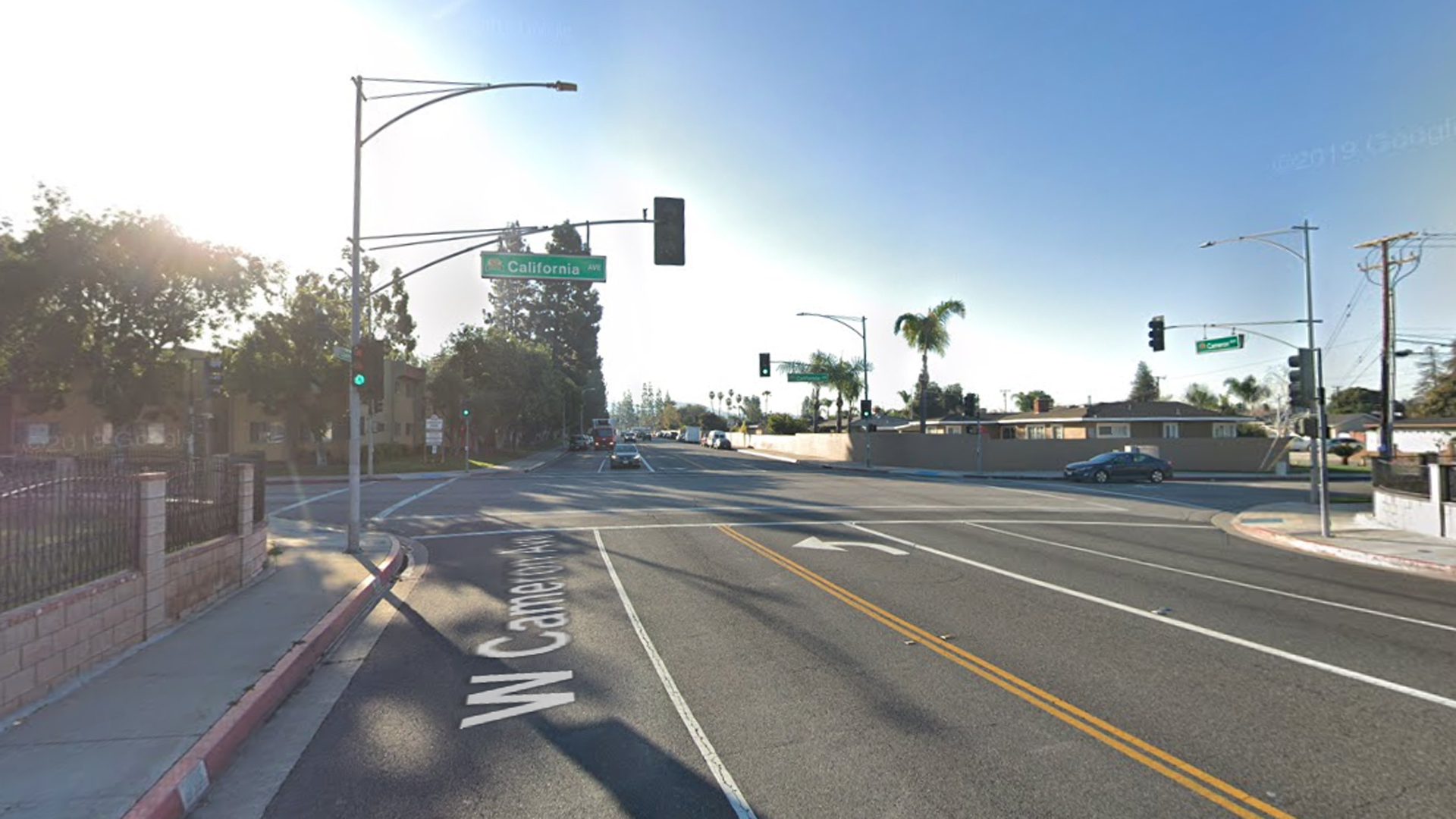 The intersection of Cameron and California avenues in West Covina, as viewed inn a Google Street View image in March of 2019.
