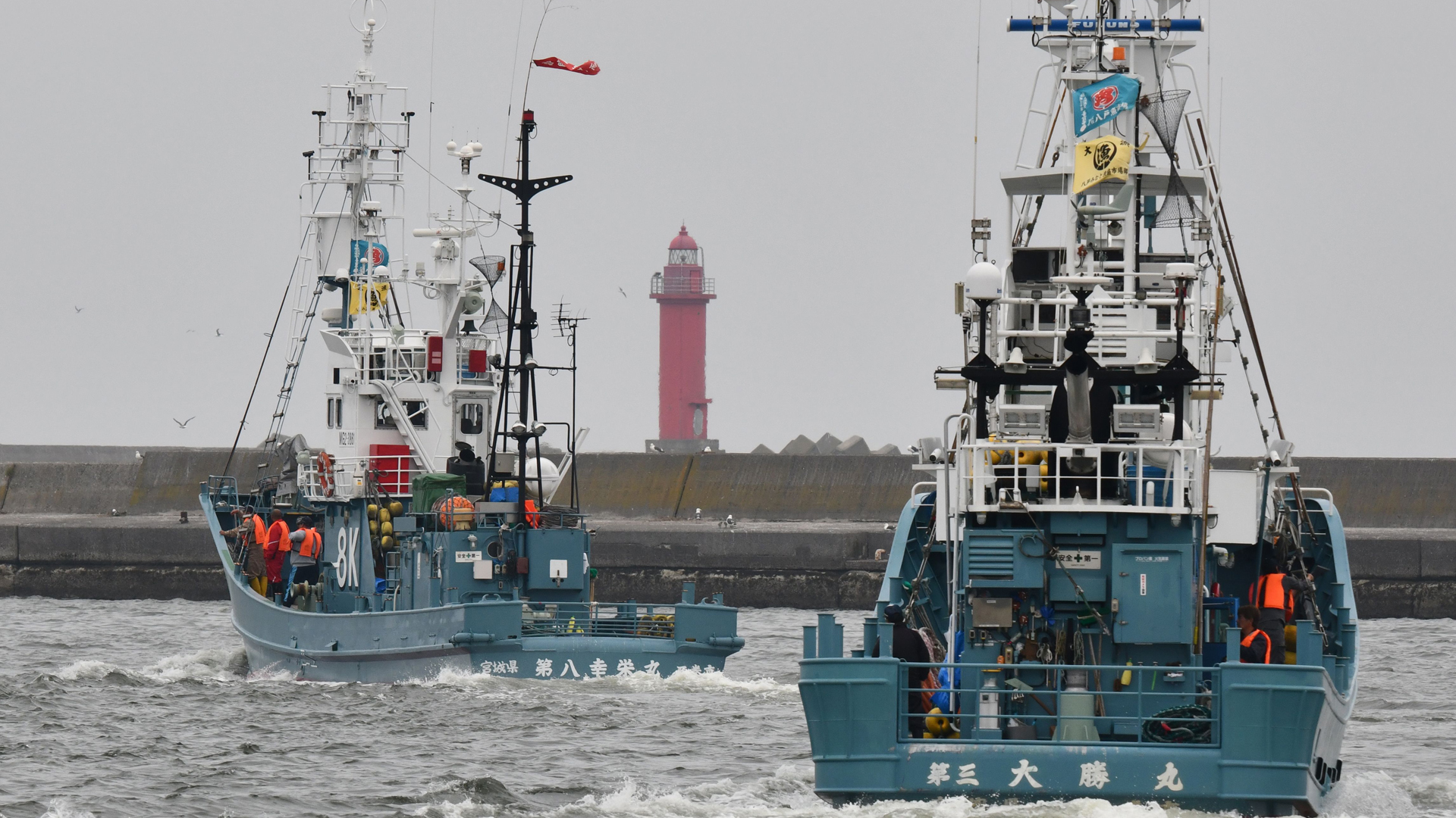 Whaling ships depart from a port in Kushiro, Hokkaido Prefecture on July 1, 2019. (Credit: Kazuhiro Nogi/AFP/Getty Images)