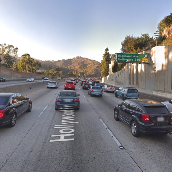 The northbound 101 Freeway at Highland Avenue in Hollywood, as viewed in a Google Street View image in January of 2018.