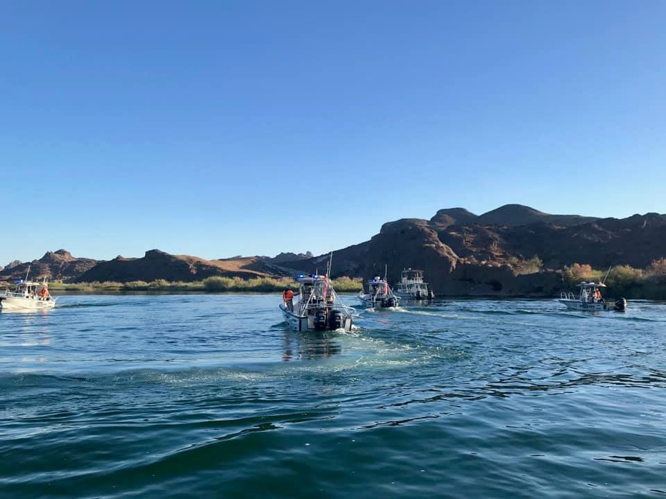 A rescue team searches for a 16-year-old boy in the area of Mohave Rock and the Sand Bar on the Colorado River on July 6, 2019. (Credit: Mohave County Sheriff's Office/Facebook)