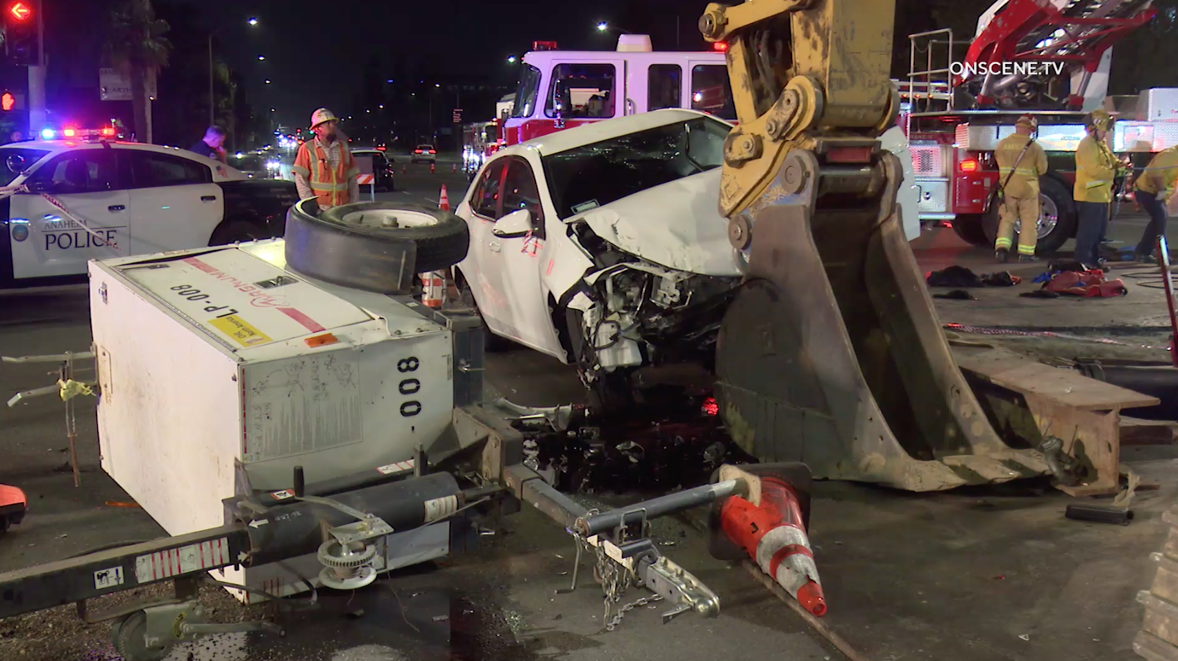 The aftermath of a crash in which a vehicle slammed into a construction site in Anaheim is seen on July 29, 2019. (Credit: ONSCENE.TV)
