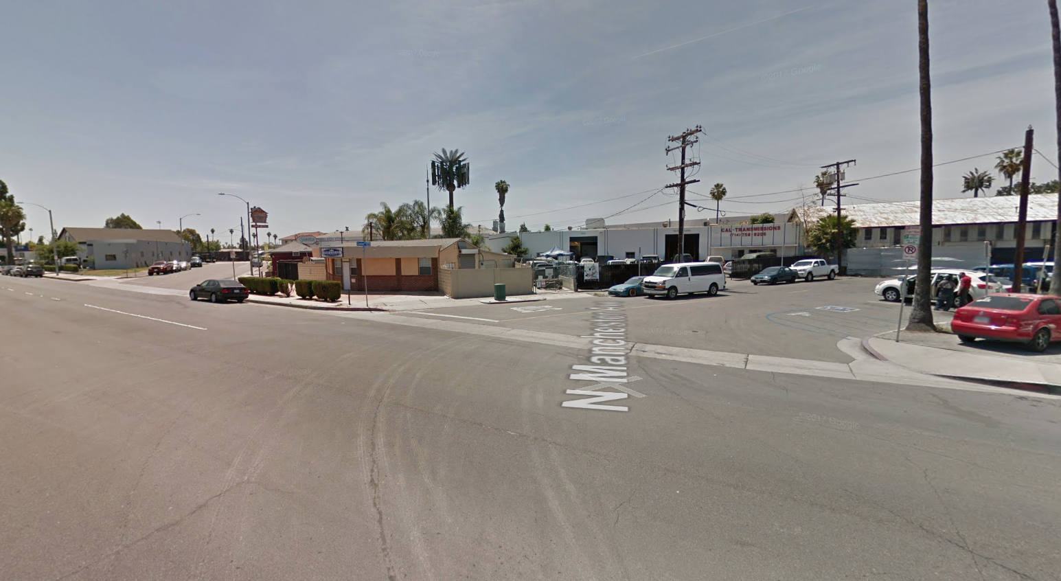 The 1500 block of West Center Street in Anaheim is seen in a Google Maps image.