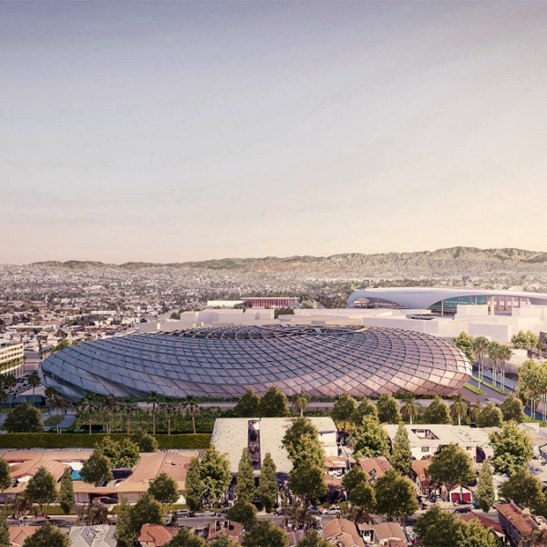 A rendering looking south at the Clippers' proposed arena in Inglewood is seen in an image released by the team on July 25, 2019.