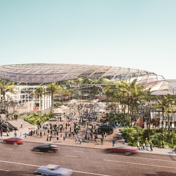 A rendering of the proposed arena for the Clippers in Inglewood is seen in an image released by the team on July 25, 2019.