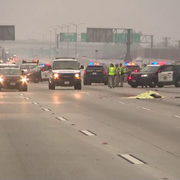 Authorities respond to a deadly crash on the 5 Freeway in Arleta on July 6, 2019. (Credit: KTLA)