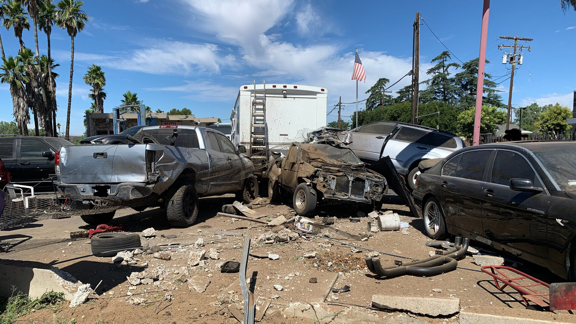 An employee was struck and killed when an SUV sped through the parking lot of a Beaumont auto repair shop on July 19, 2019. (Credit: Beaumont Police Department)