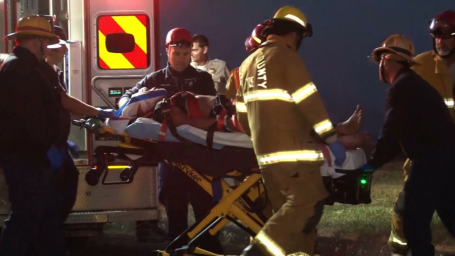 A man identified as Betai Koffi is loaded into an ambulance after being shot by deputies in Bodega Bay on July 4, 2019. (Credit: KPIX via CNN)