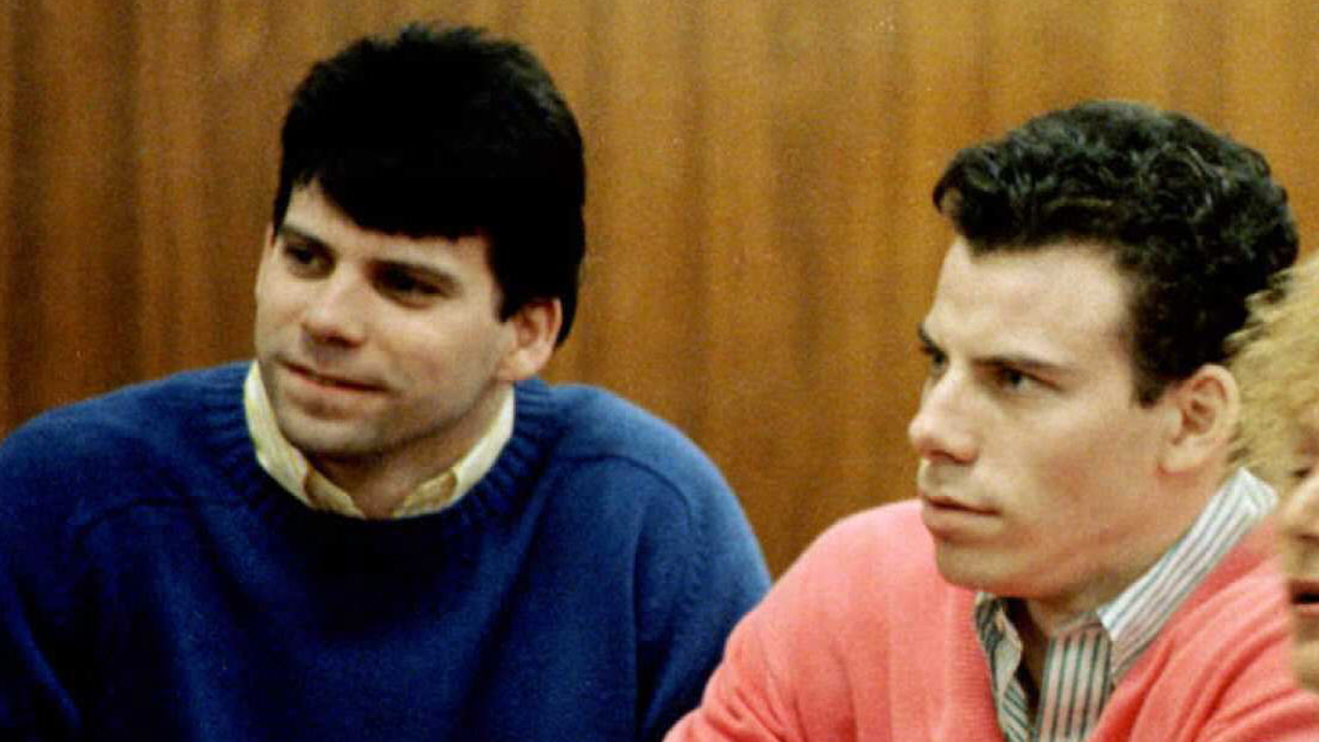 This 1992 file photo shows double murder defendants Erik and Lyle Menendez, from left to right, during a court appearance in Los Angeles. (Credit: MIKE NELSON/AFP/Getty Images)