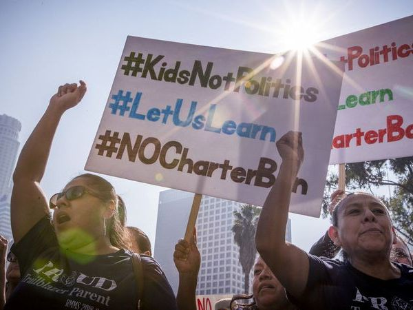 Charter school supporters protest in Los Angeles on Jan. 29, 2019. (Credit: Allen J. Schaben / Los Angeles Times)