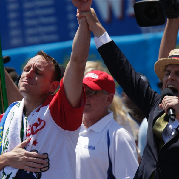 Joey Chestnut reacts after he wins the annual Nathan's hot dog eating contest on July 4, 2019 in New York City. (Credit: Kena Betancur/Getty Images)