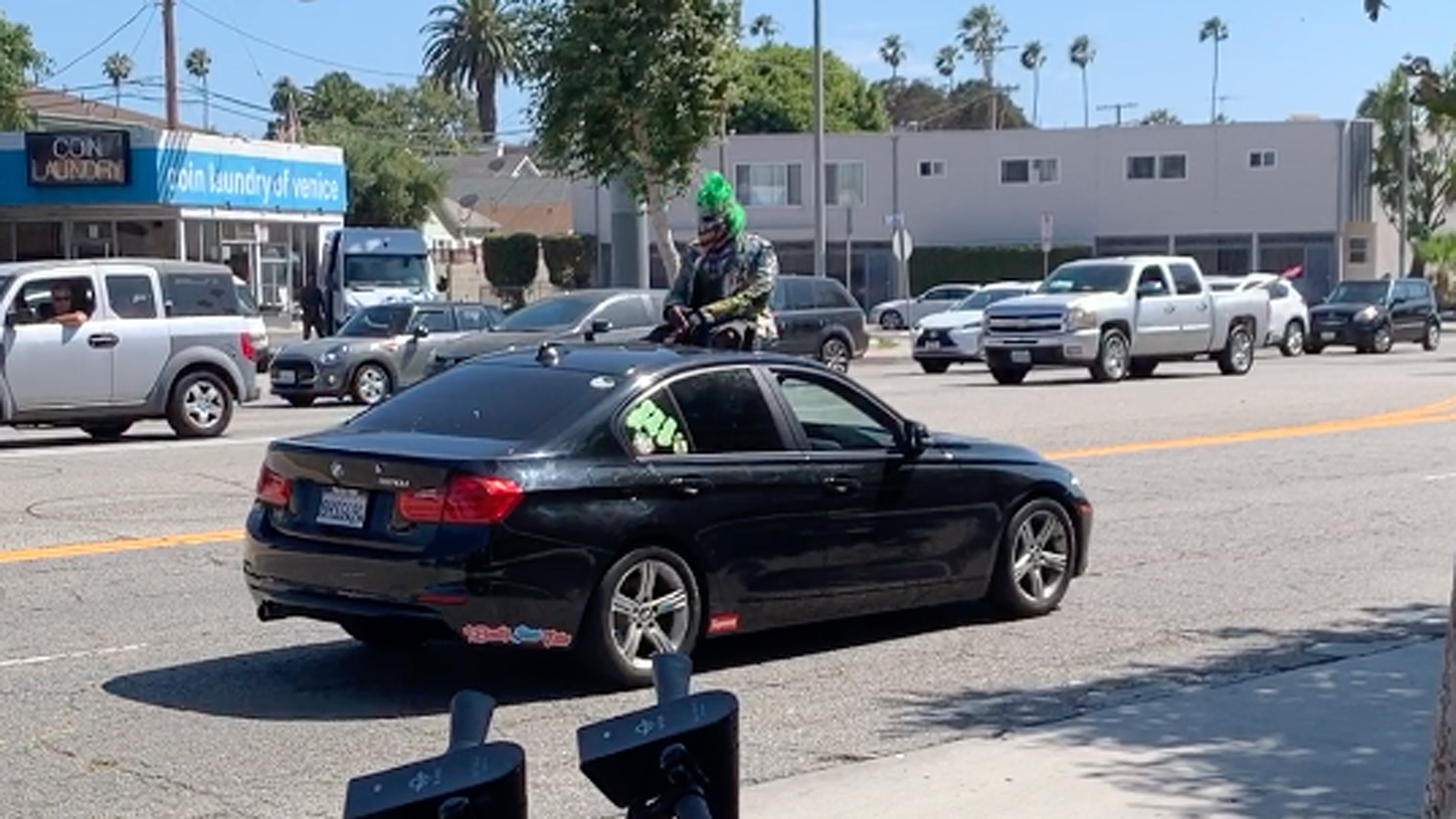 A man in a clown costume leads the California Highway Patrol on a chase through Venice on July 20, 2019. (Credit: Chuck Patton)