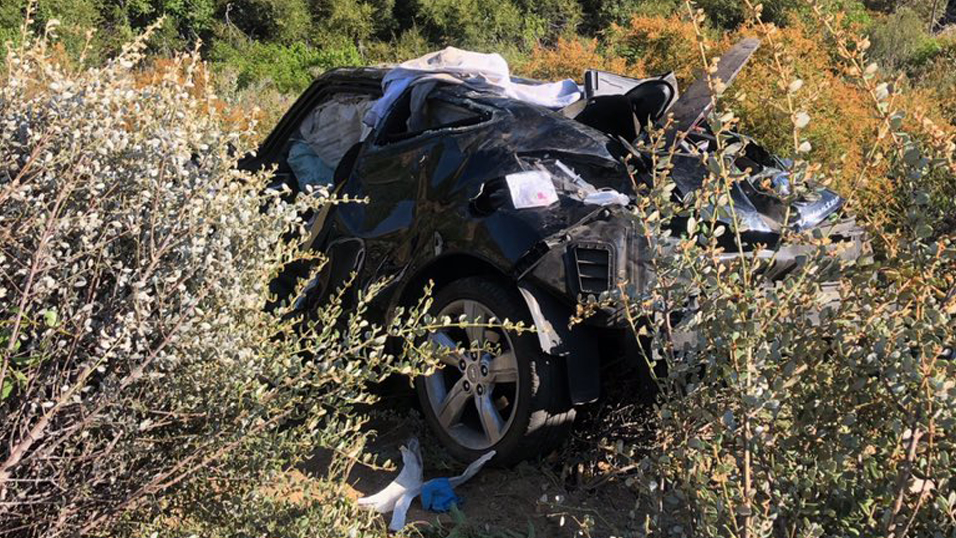 A man died when a car went over the side of a mountain road deep in the Angeles National Forest on July 26, 2019. (Credit: Los Angeles County Sheriff's Department)