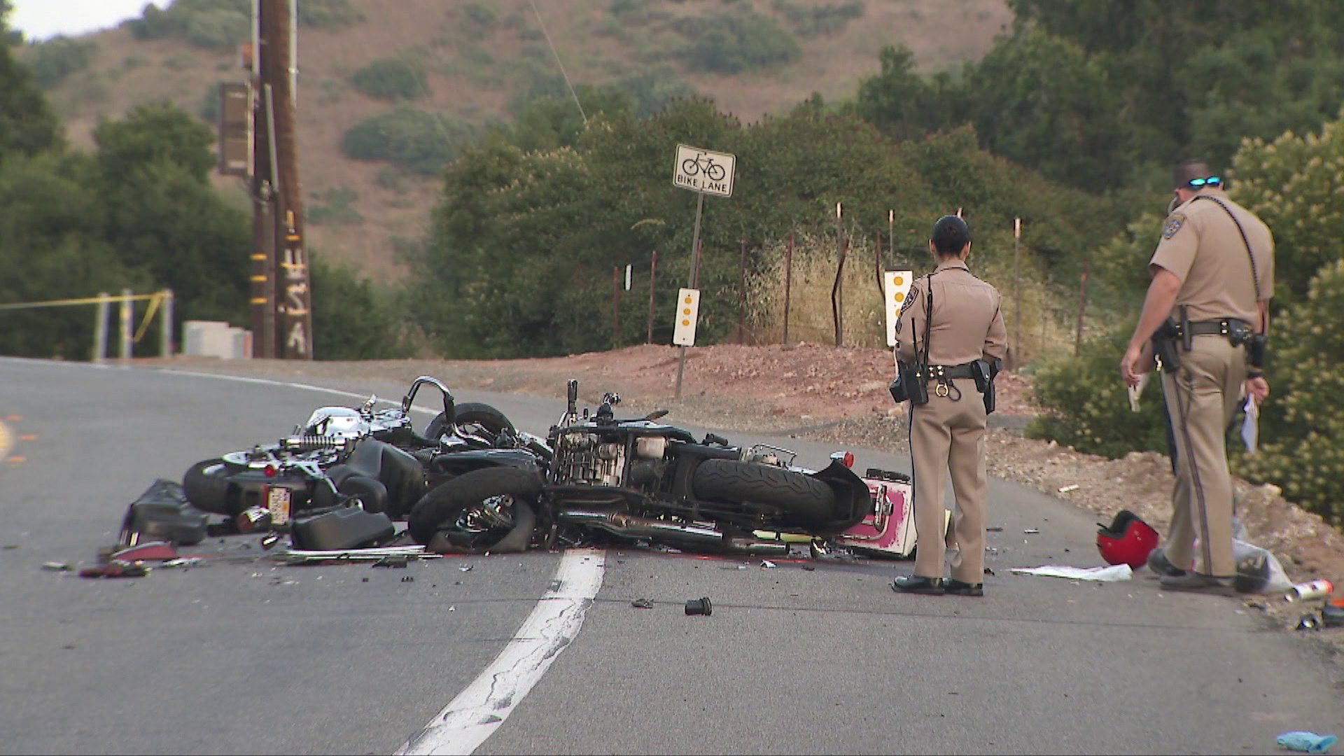 A head-on crash involving two motorcycles left four people dead on July 7, 2019. (Credit: KTLA)