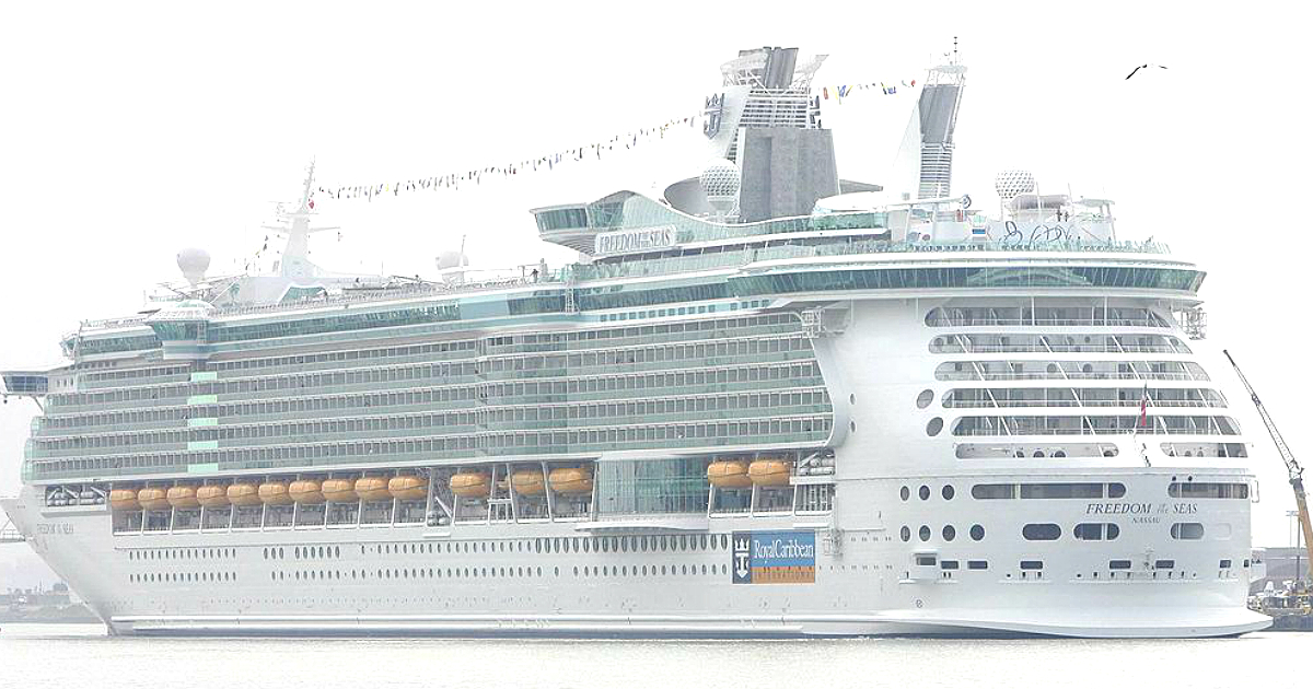 Freedom of the Seas, a cruise ship owned by Royal Caribbean, backs in port in Bayonne, New Jersey on May 12, 2006. (DON EMMERT/AFP/Getty Images)