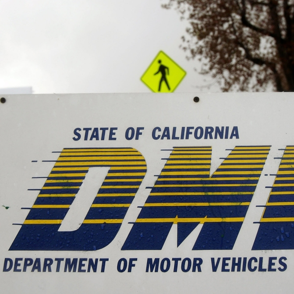 Signage is seen at the State of California Department of Motor Vehicles (DMV) February 6, 2009 in Pasadena, California. (Credit: David McNew/Getty Images)