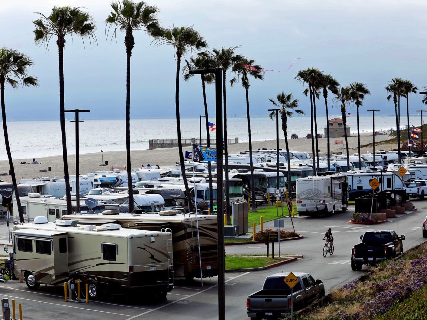 Camper trailers fill out the campground at Dockweiler State Beach in Playa del Rey.(Credit: Genaro Molina / Los Angeles Times)