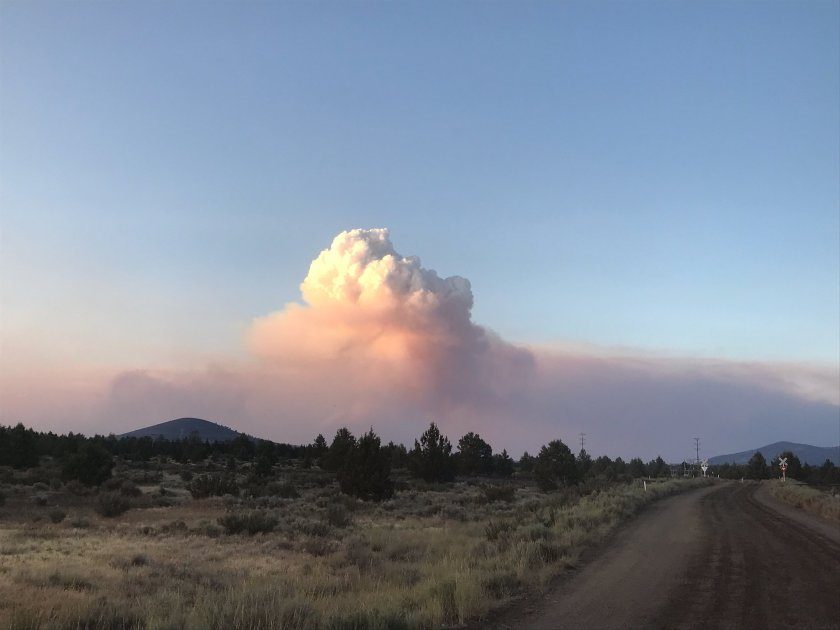 The Tucker fire in Modoc County is pictured near California Highway 139 at Perez Overpass on July 29, 2019.(Credit: U.S. Forest Service via Los Angeles Times)