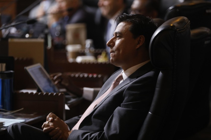 Los Angeles City Councilman Jose Huizar during a meeting at City Hall in 2018. (Genaro Molina / Los Angeles Times)