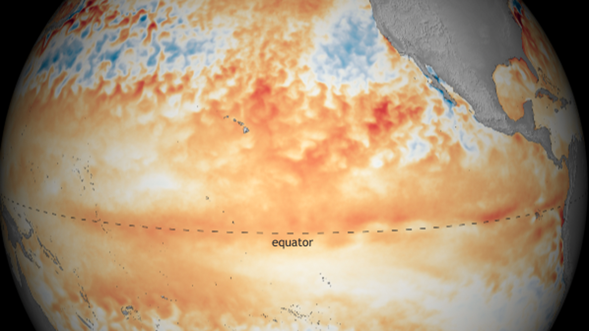 """A deep wave of warm water spreading eastward across the tropical Pacific in May provides confidence in June's forecast that El Niño will last through summer (66% chance),"" according to NOAA, which released this image. ""The odds that El Niño will persist through fall and winter have declined slightly in the past month (from 55-60% to 50-55%)."""