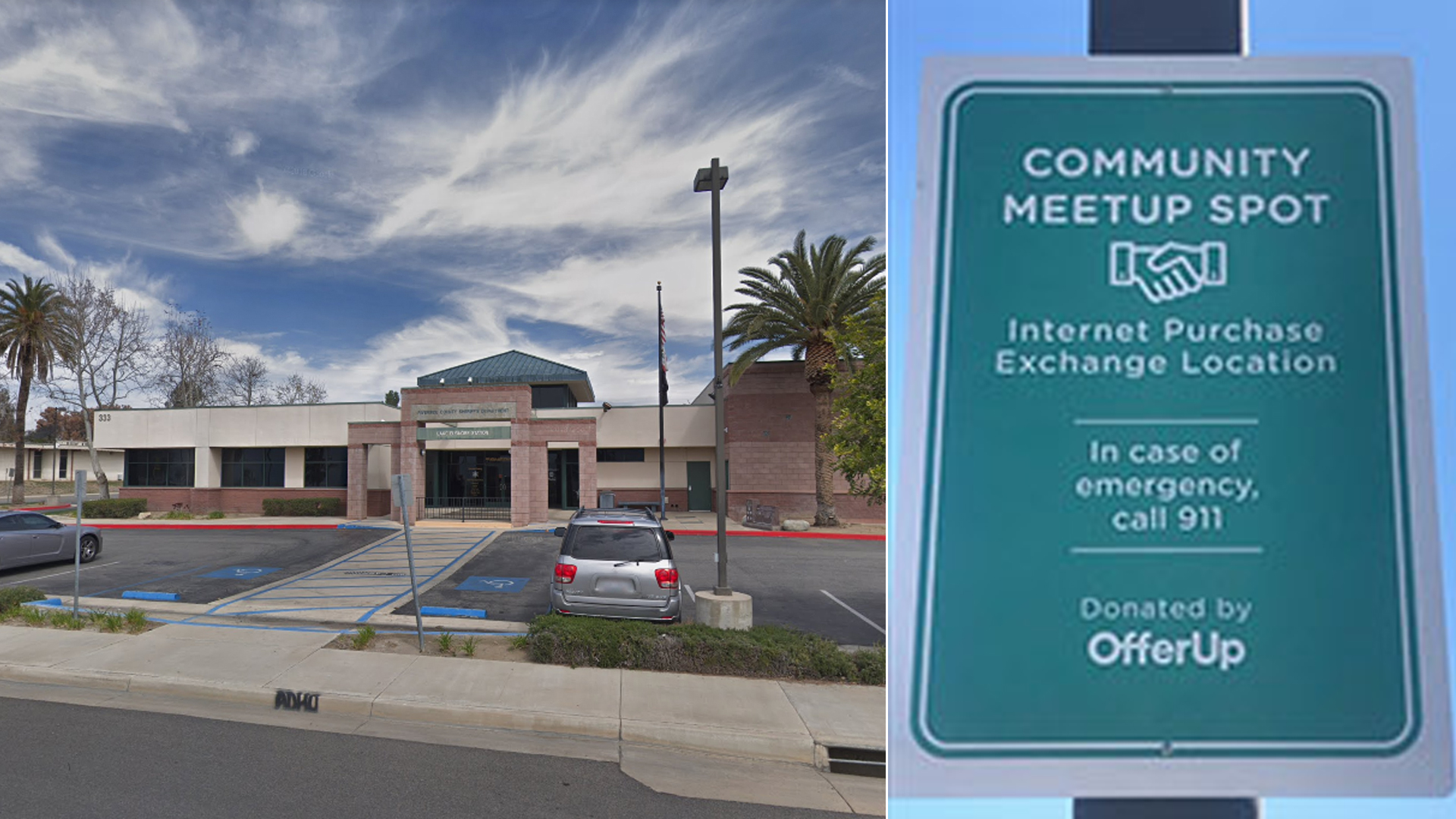 The Lake Elsinore sheriff's station is seen in a Google Maps Street View image from March 2018, and a new sign marking a parking area as a safe location for internet transaction meetups is seen in an image released July 22, 2019, by the Riverside County Sheriff's Department.