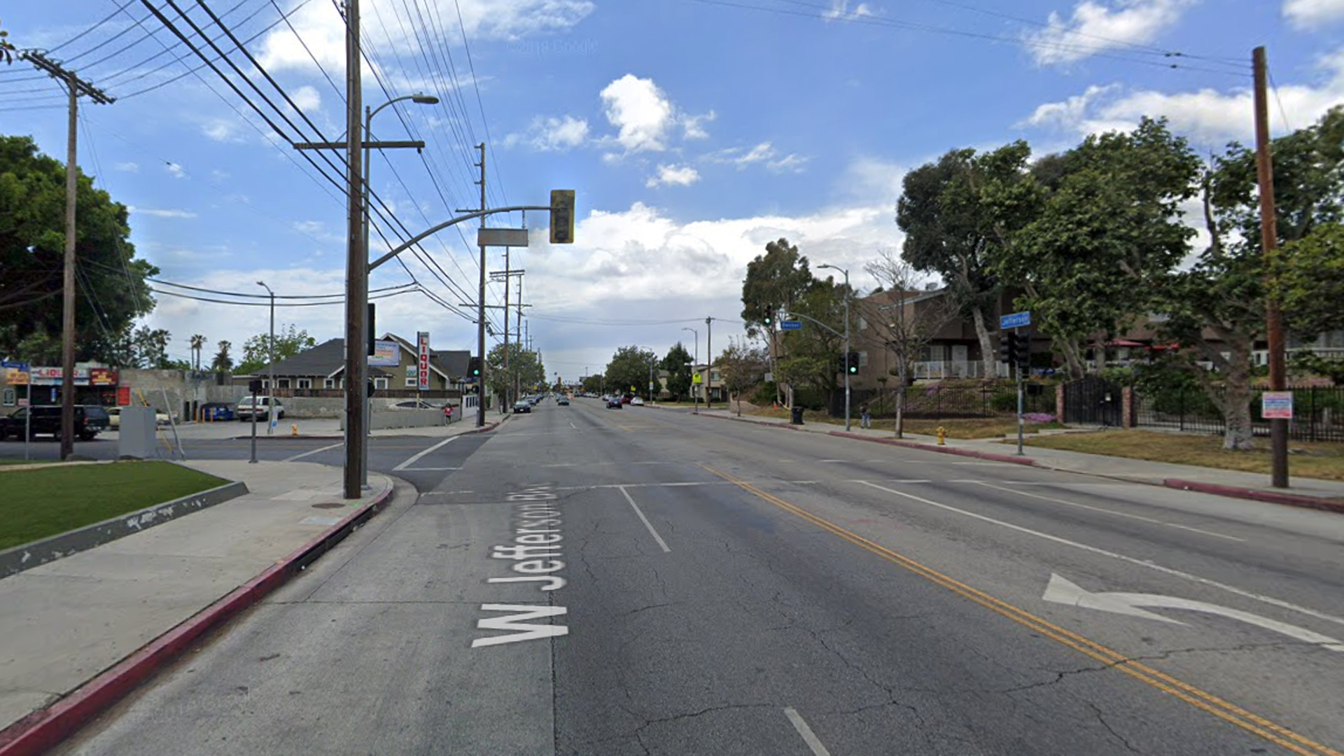 The intersection of Jefferson Boulevard and Denker Avenue in Los Angeles' Exposition Park neighborhood, as pictured in a Google Street View image in May of 2019.