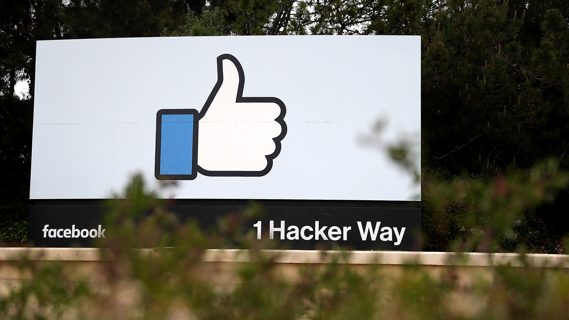 A sign is posted outside of Facebook headquarters on April 5, 2018 in Menlo Park. (Credit: Justin Sullivan / Getty Images)