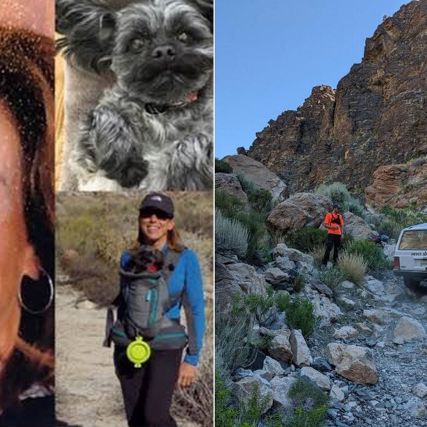 Sheryl Powell and her dog are seen in photos released by her family on July 15, 2019. The Inyo County Sheriff's Office released the image on the right on July 14, 2019 in an announcement of her disappearance.