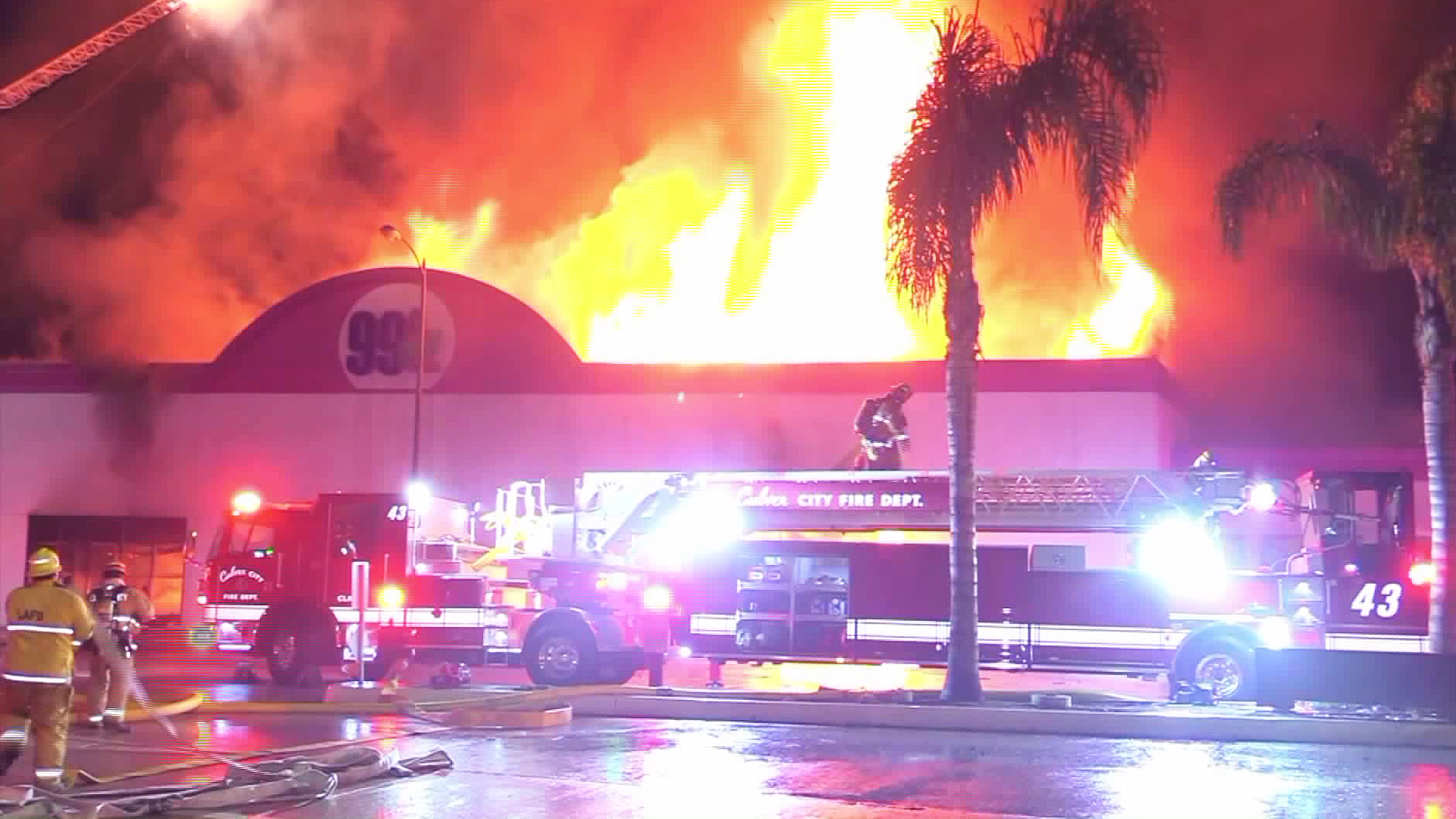 Firefighters battle a blaze at a 99 Cents Only store in Culver City on July 22, 2019. (Credit: ANG News)