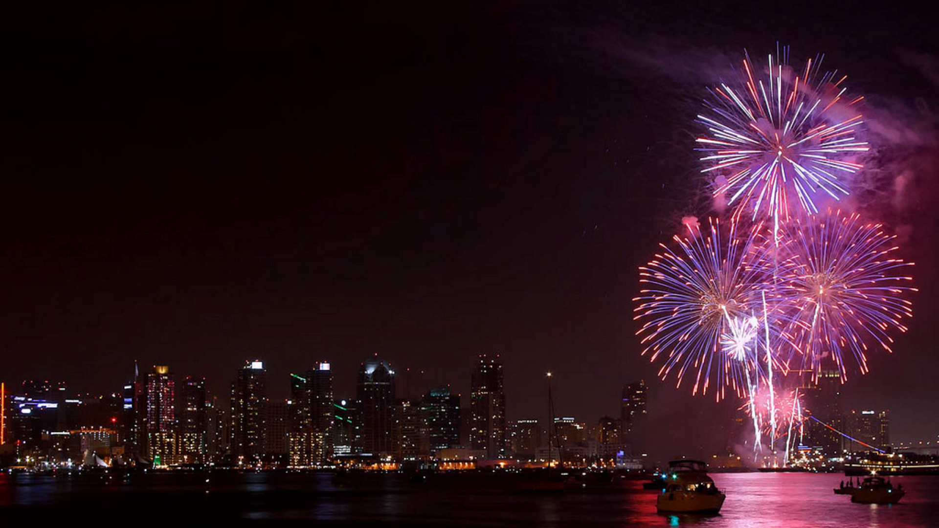 Fireworks explode over the San Diego Bay in this undated photo of the Big Bay Boom Independence Day Spectacular. (Credit: Port of San Diego)