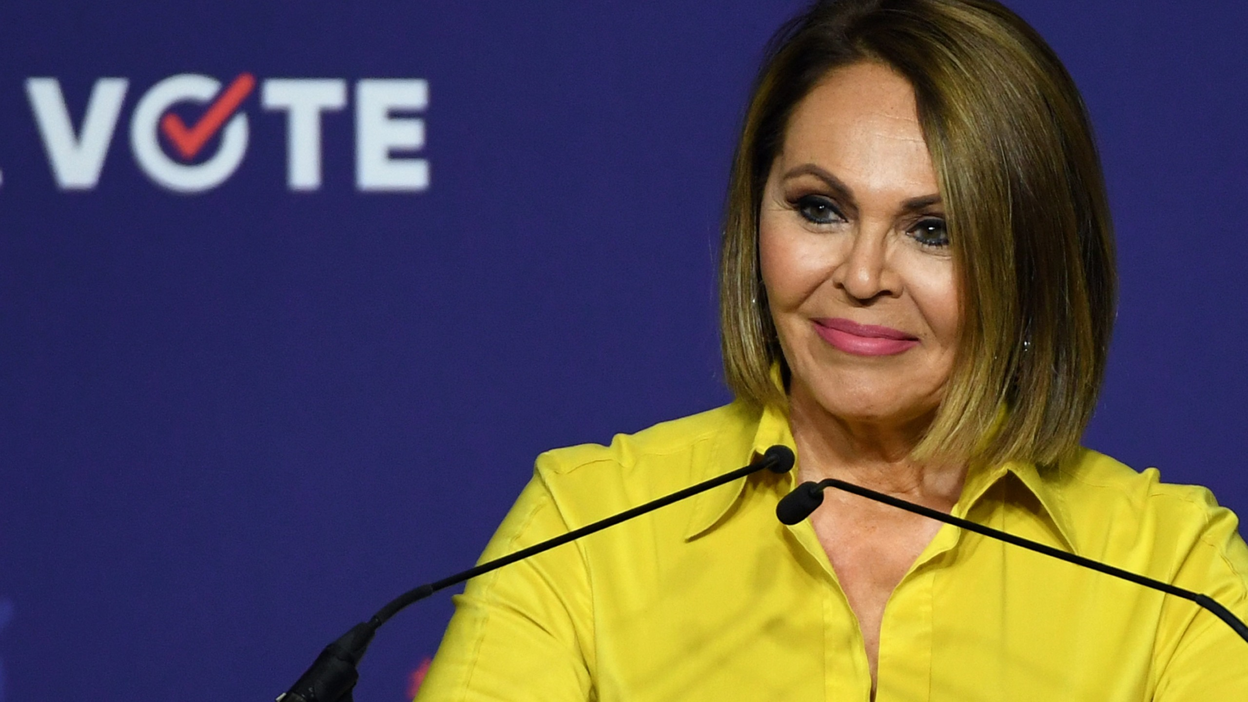 Journalist Maria Elena Salinas speaks during a rally for When We All Vote's National Week of Action featuring former first lady Michelle Obama at Chaparral High School on Sept. 23, 2018, in Las Vegas, Nevada. (Credit: Ethan Miller/Getty Images)