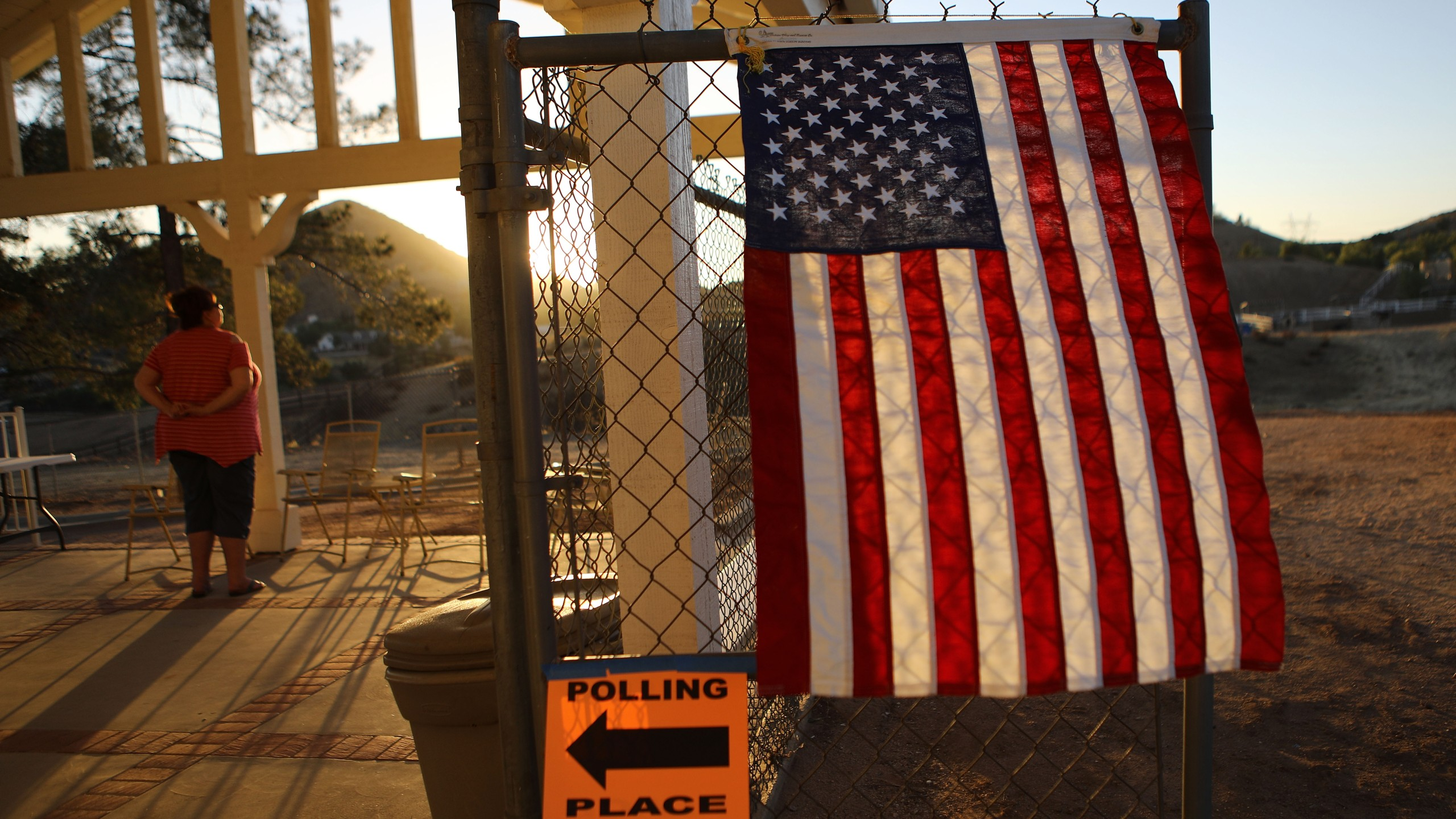 A voter takes in the view outside a polling place after casting her ballot in California's 25th Congressional district on Nov. 6, 2018 in Agua Dulce, California. (Credit: Mario Tama/Getty Images)
