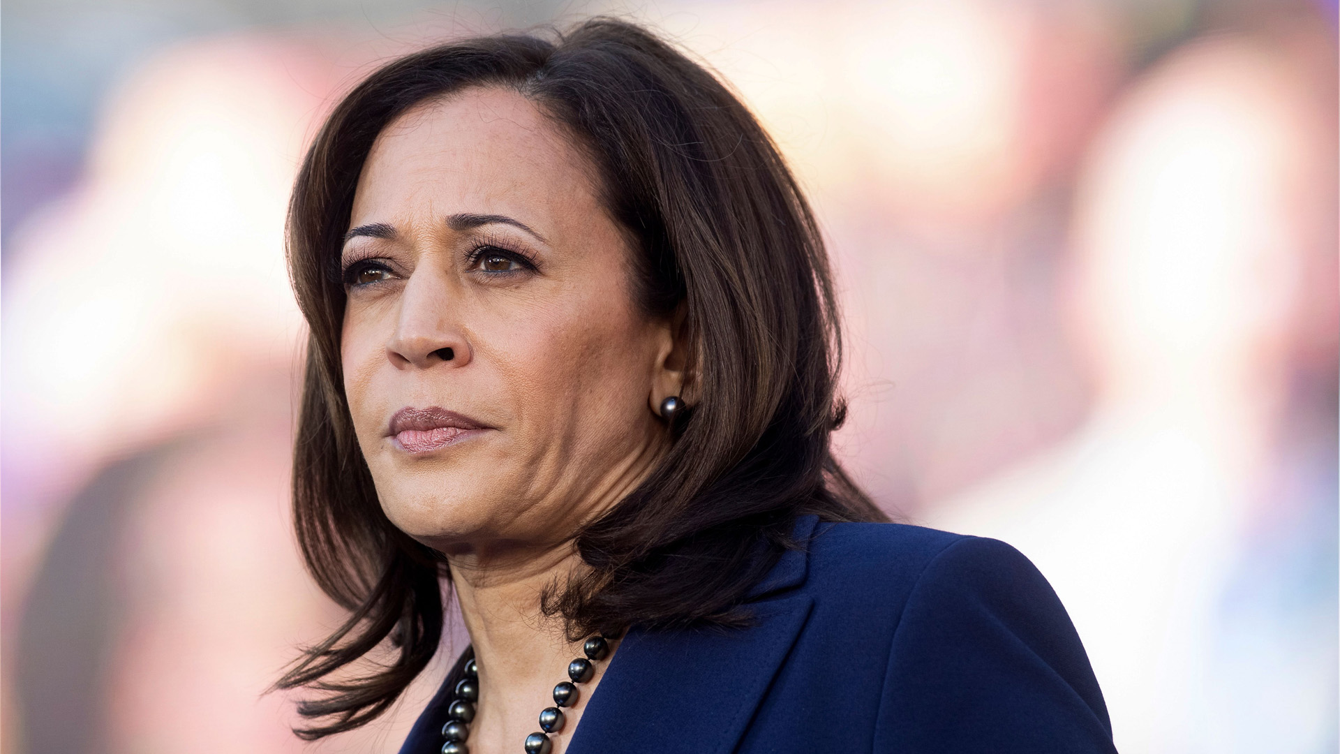 California Senator Kamala Harris looks on during a rally launching her presidential campaign on Jan. 27, 2019, in Oakland, California. (Credit: NOAH BERGER/AFP/Getty Images)