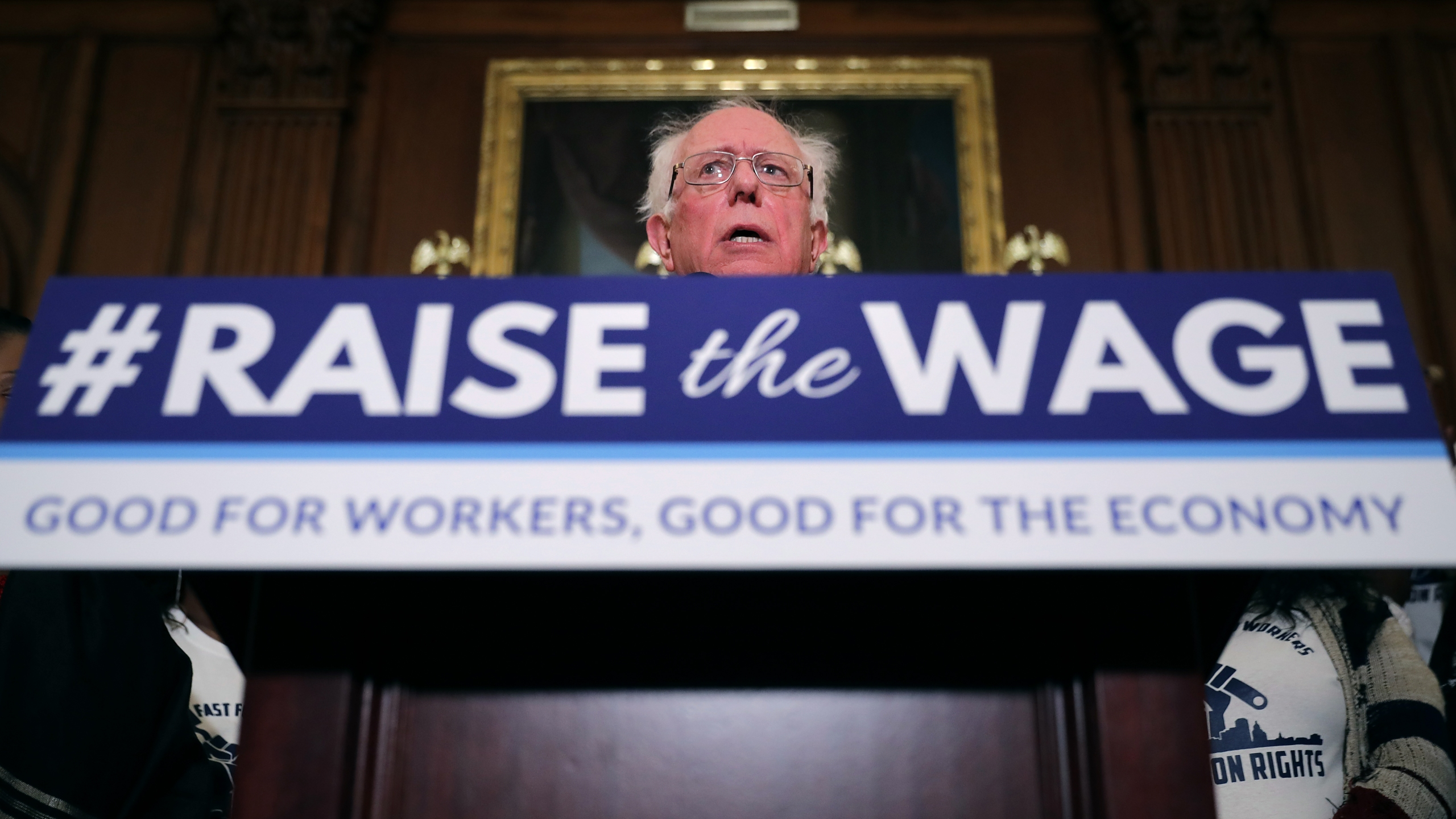 Sen. Bernie Sanders (I-VT) speaks during an event to introduce the Raise The Wage Act in the Rayburn Room at the U.S. Capitol Jan. 16, 2019 in Washington, D.C. (Credit: Chip Somodevilla/Getty Images)