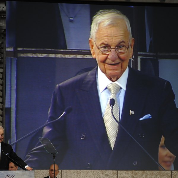 Business icon Lee Iacocca speaks after being honored at the Ellis Island Family Heritage Awards at the Ellis Island Immigration Museum in New York on April 13, 2011. (Credit: Timothy A. Clary / AFP / Getty Images)