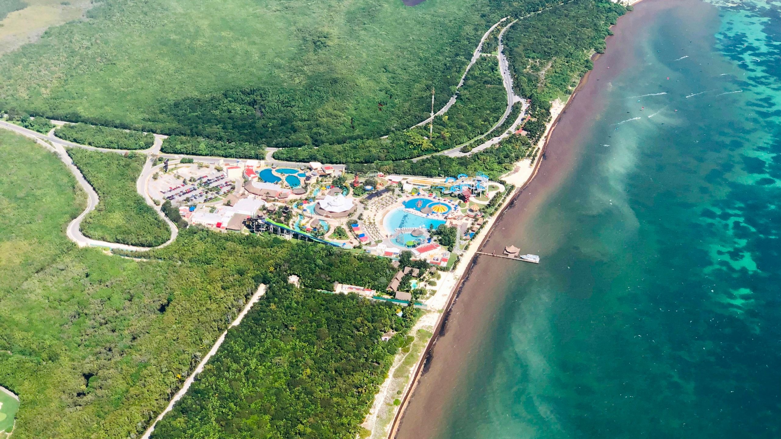 An aerial shot shows a view of a resort in Cancun, Mexico on Feb. 17, 2019 in this file photo. (Credit: DANIEL SLIM/AFP/Getty Images)